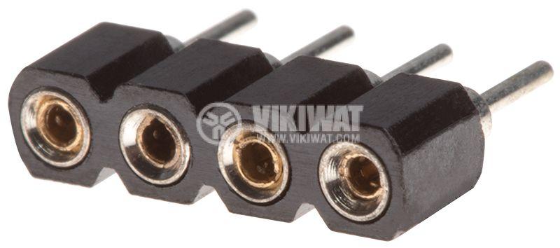 Съединител щифтов 4 пина гнездо THT монтаж растер 2.54mm - 1