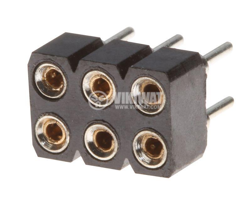 Съединител щифтов 6 пина гнездо THT монтаж растер 2.54mm - 1