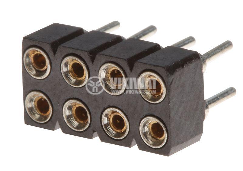 Съединител щифтов 8 пина гнездо THT монтаж растер 2.54mm - 1