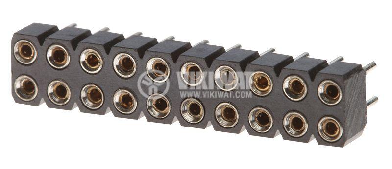 Съединител щифтов 20 пина гнездо THT монтаж растер 2.54mm - 1