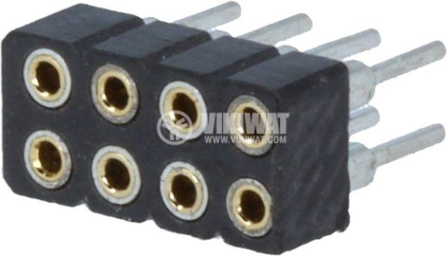 Съединител щифтов 8 контакта гнездо THT растер 2mm - 1