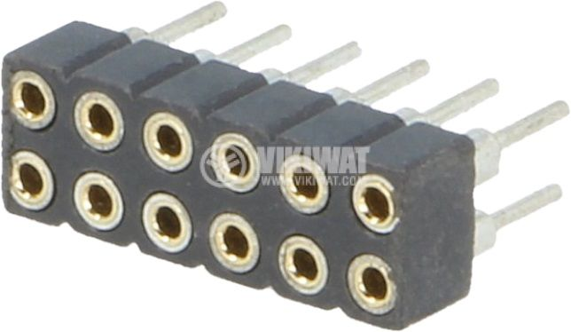 Съединител щифтов 12 контакта гнездо THT растер 2mm - 1