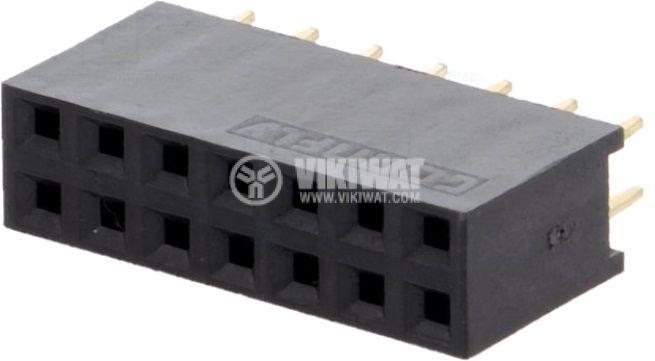 Съединител щифтов 14 контакта 2x7 гнездо THT - 1