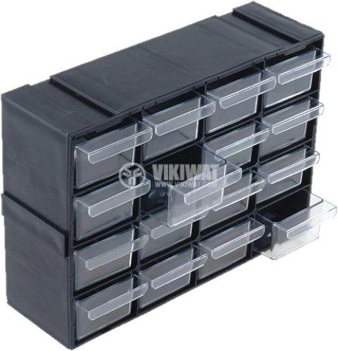 Модул рафт с 16 броя чекмеджета черен