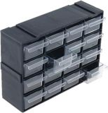 Organizer shelf with 16 drawers black color