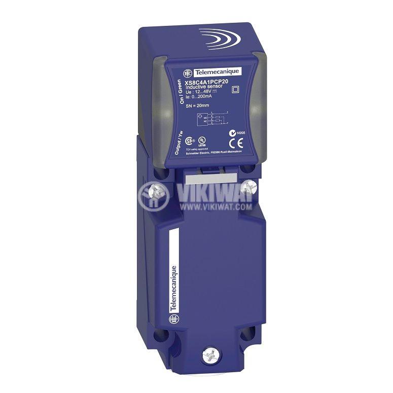 Индуктивен датчик XS8C4A1PCG13, 12~48VDC, PNP, NO+NC, 20mm, 40x40x117mm, екраниран