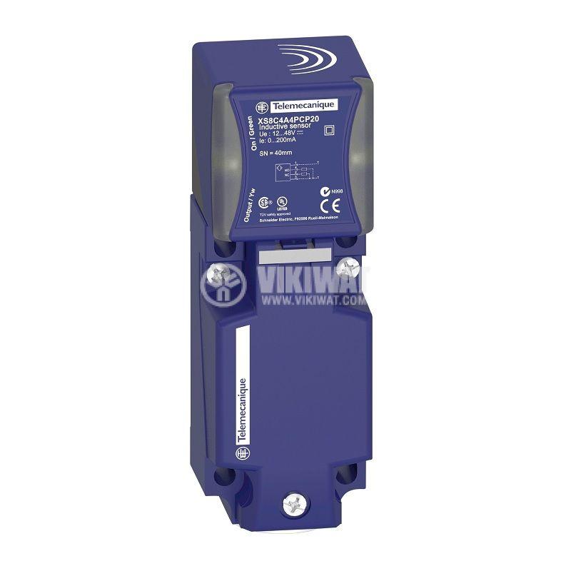 Индуктивен датчик XS8C4A4PCP20, 12~48VDC, PNP, NO+NC, 40mm, 40x40x117mm, неекраниран