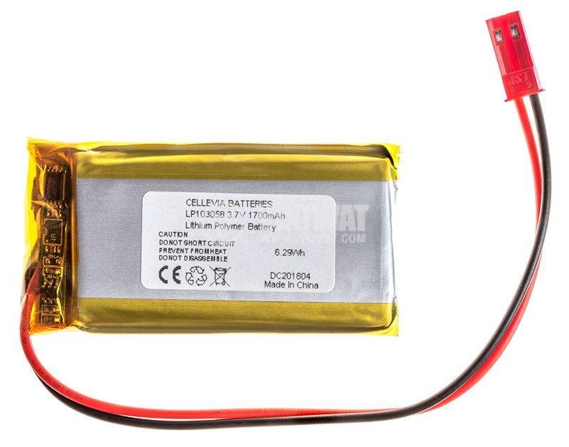 Акумулаторна батерия 3.7V 1700mAh Li-Po проводници и букса - 1