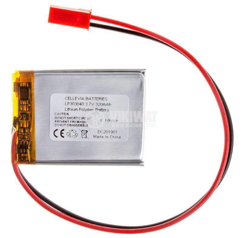 Акумулаторна батерия 3.7V 320mAh Li-Po проводници и букса - 1