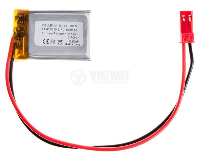 Акумулаторна батерия 3.7V 190mAh Li-Po проводници и букса - 1