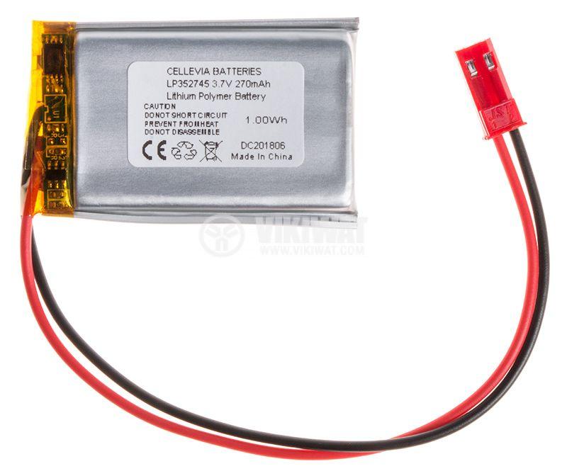 Акумулаторна батерия 3.7V 900mAh Li-Po проводници и букса - 1