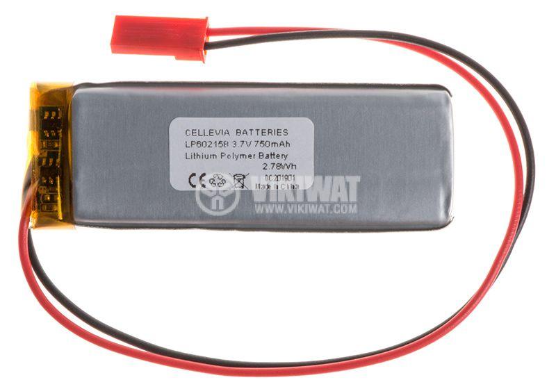 Акумулаторна батерия 3.7V 750mAh Li-Po проводници и букса - 1