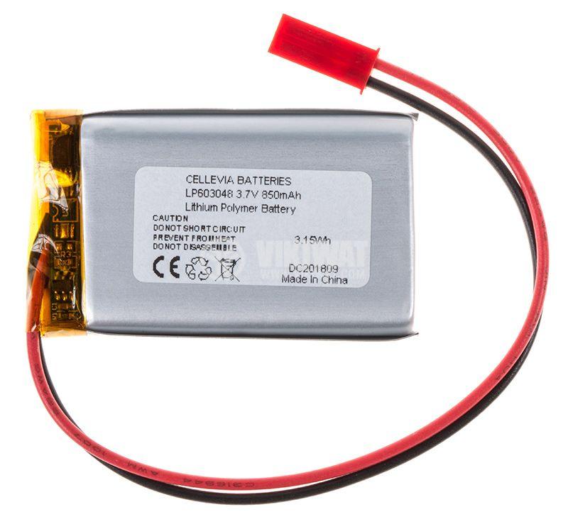 Акумулаторна батерия 3.7V 850mAh Li-Po проводници и букса - 1