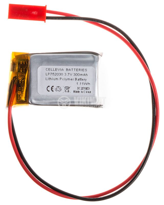 Rechargeable battery 3.7V, 300mAh, Li-Po - 1