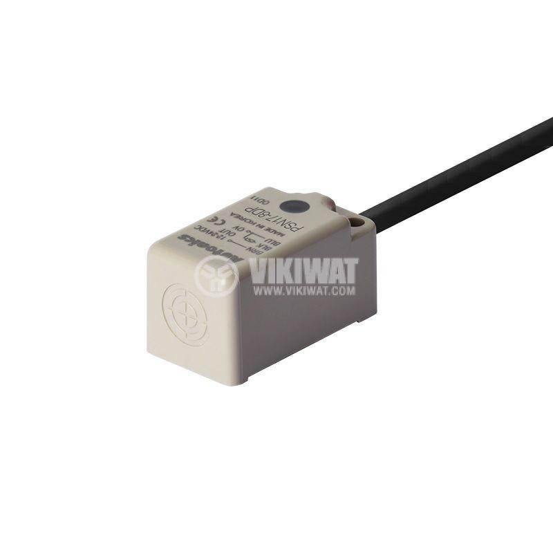 Индуктивен датчик PSN17-8DP, 10~30VDC, PNP, NO, 8mm, 18x18x35.6mm, екраниран