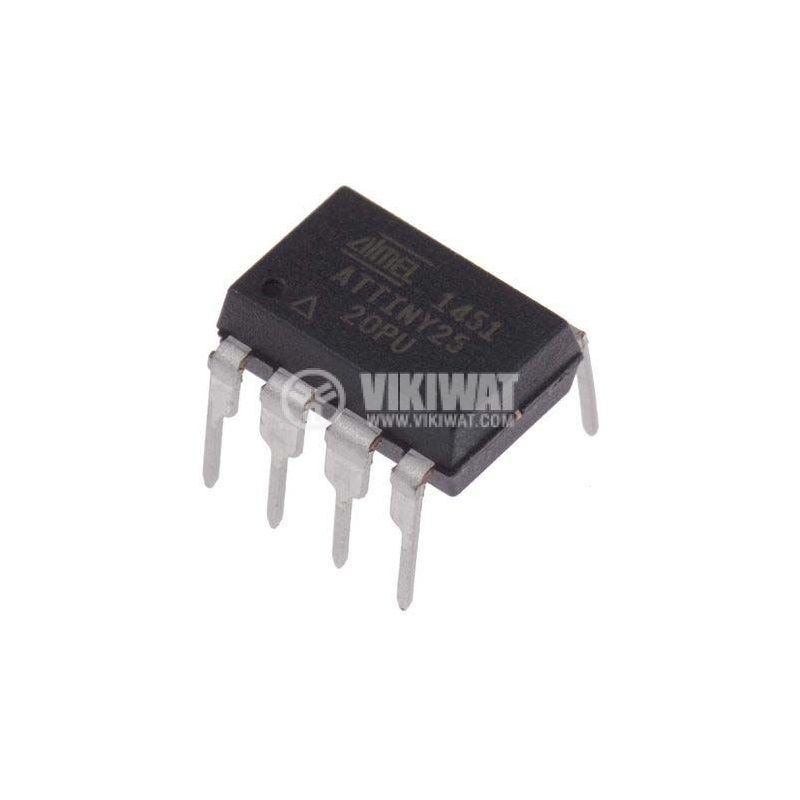 Микроконтролер ATTINY25-20PU, 8-битов, THT, DIP8