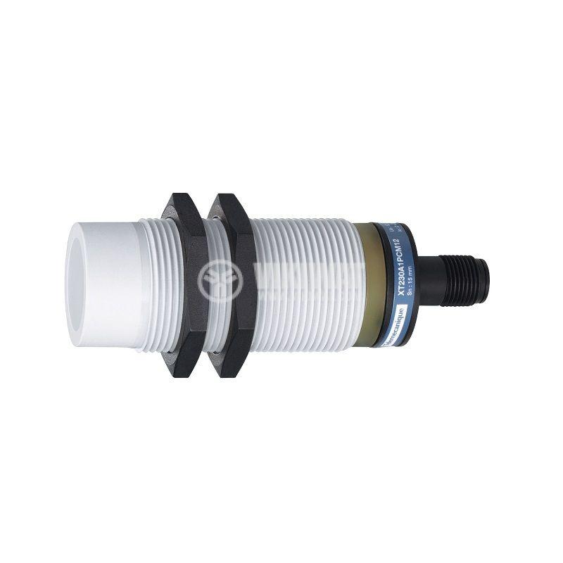 Капацитивен датчик XT230A1PCM12, M30x74.5mm, 10~30VDC, NO+NC, 15mm, неекраниран