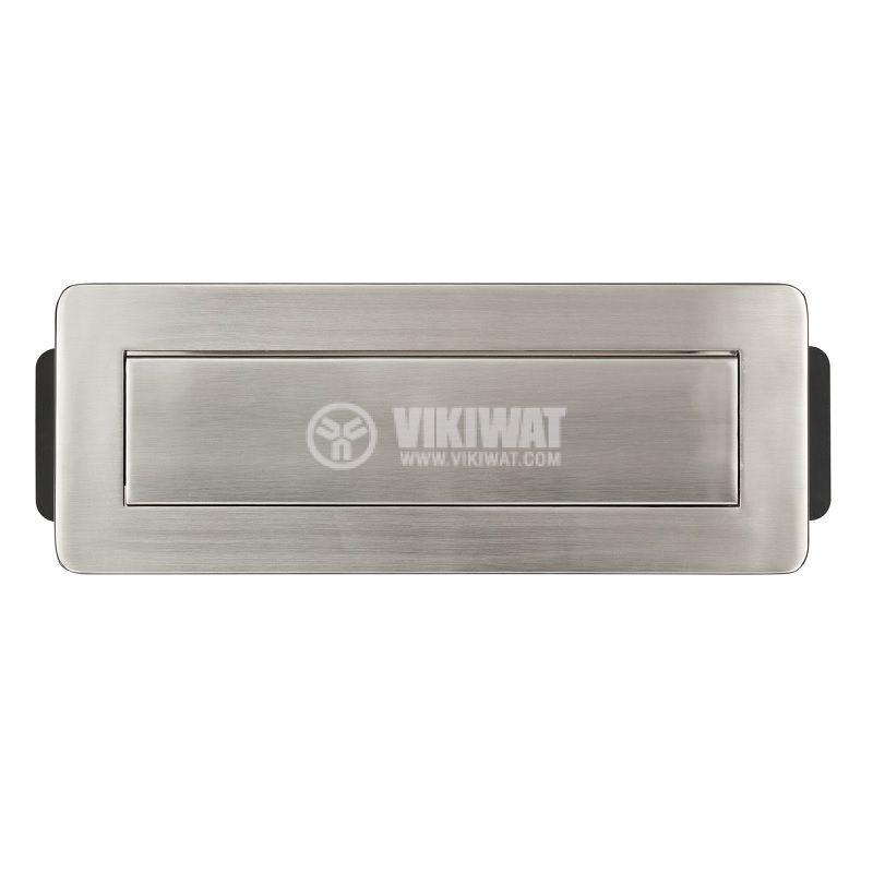 Разклонител за вграждане 3-ка + 2 USB порта, сребрист, Indesk Power, Brennenstuhl - 2
