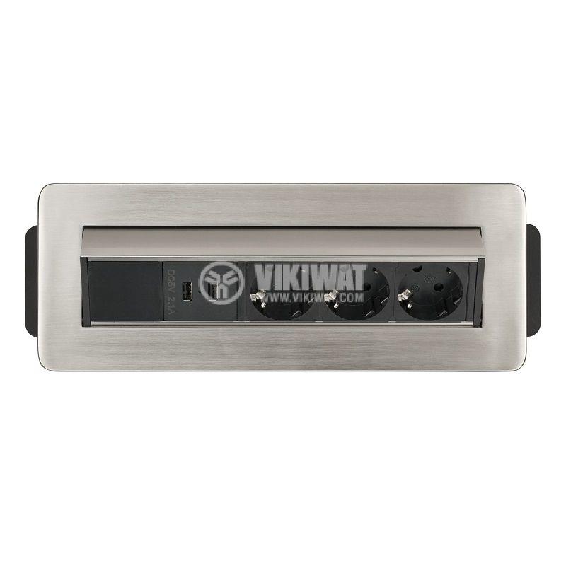 Разклонител за вграждане 3-ка + 2 USB порта, Indesk Power, Brennenstuhl, 1396200113 - 3