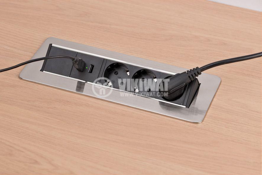 Разклонител за вграждане 3-ка + 2 USB порта, Indesk Power, Brennenstuhl, 1396200113 - 7