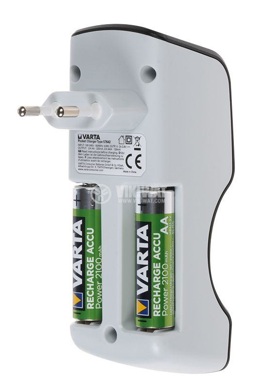 Pocket size battery charger for 2 or 4x AA/ AAA rechargeable batteries, VARTA POCKET CHARGER - 3