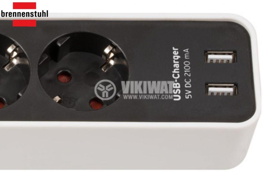Разклонител 4-ка, 2 USB порта, 1.5m кабел, черен/бял, Ecolor, Brennenstuhl, 1153240026 - 2