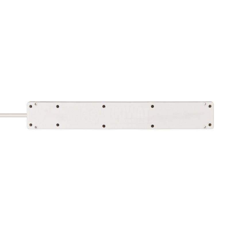 Разклонител 6-ца за монтаж на стена/плот с ключ, шуко, кабел 3m, бял, 1150650326 - 3
