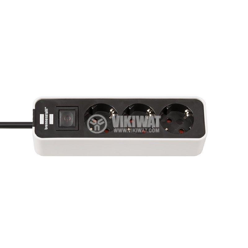 Разклонител 3-ка с ключ, шуко, кабел 1.5m, бял/черен, Ecolor, Brennenstuhl, 1153230020 - 1
