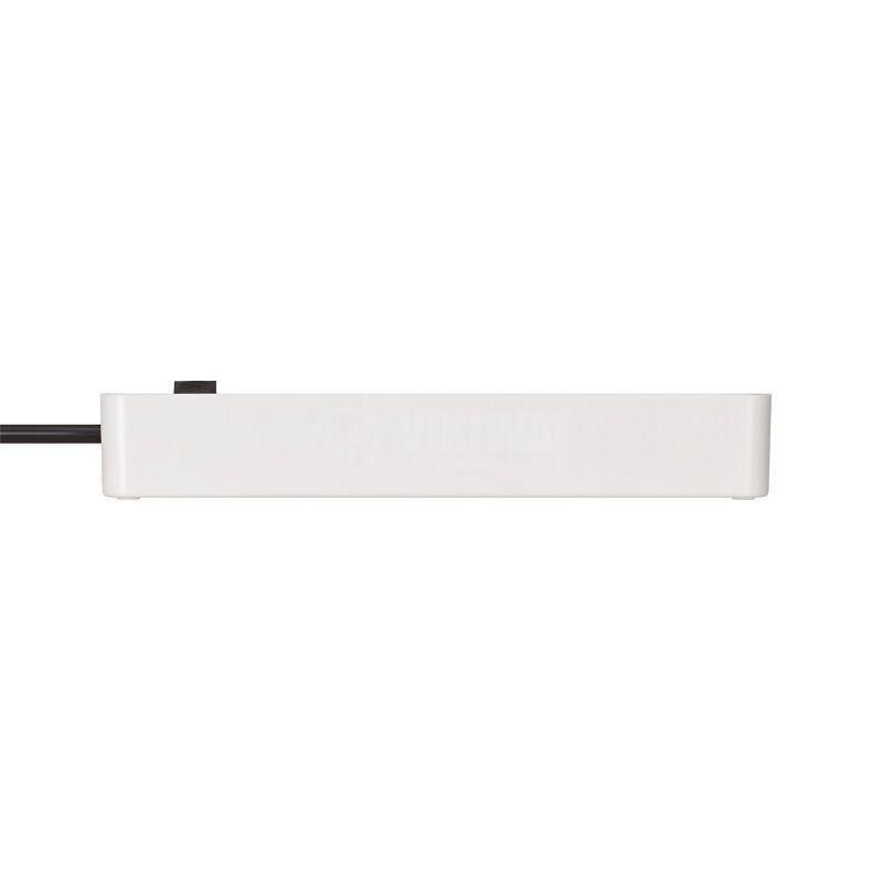 Качествен разклонител 5 контакта тип шуко, on/off ключ, черен, Ecolor, 1153250020 - 5