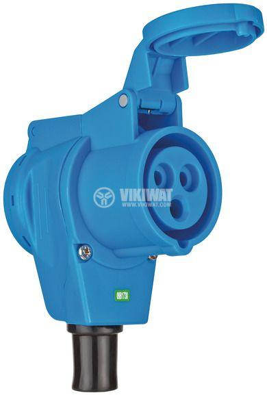 Индустриален съединител CEE с капак, IP44, влагозащитен, 1x контакт шуко 230V/16A, 1x 230V CEE 16A 3-пинов контакт, Brennenstuhl, 1080980 - 1