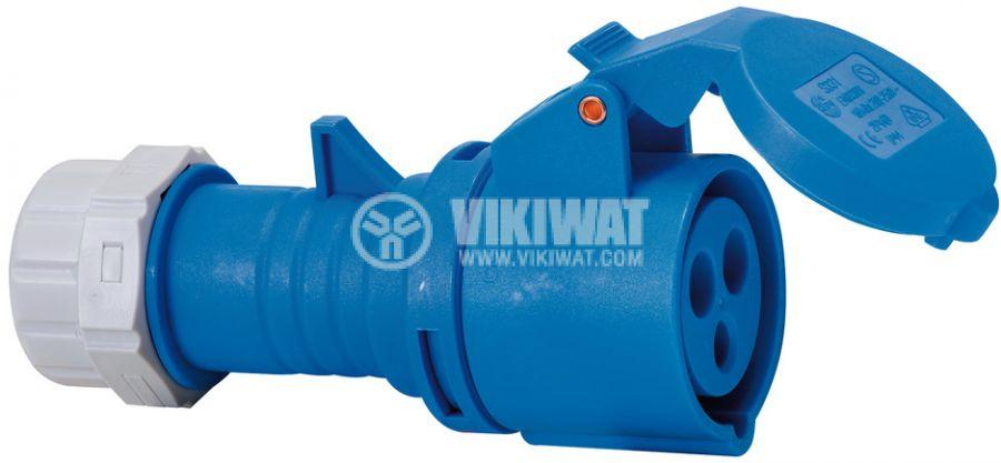 Индустриален съединител CEE - контакт, 400V, 16A, IP44, влагозащитен, син Brennenstuhl, 1081020