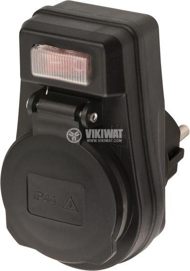 Адаптер с ключ ON / OFF за външна употреба, IP44, влагозащитен, черен, EDS 10, Brennenstuhl, 1508280 - 1