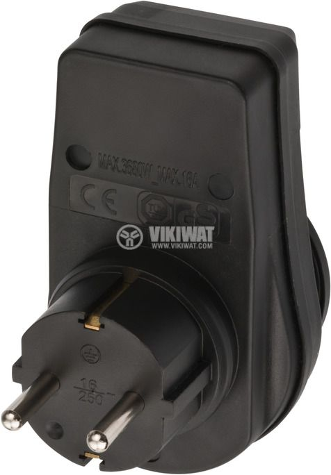 Разклонител за контакт с ключ, 250VAC, 16А, IP44, 1 шуко - 1 шуко, 3680W - 3