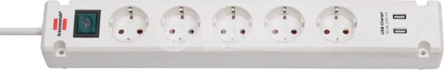 Разклонител за стена, 5 гнезда шуко, 2x USB порта,3 м кабел, бял, Bremounta, Brennenstuhl, 1150660325