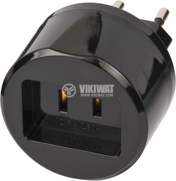 Travel adapter with 2.5A fuse, from America/USA to EURO (schuko) standard, Brennenstuhl, 1508500010 - 1