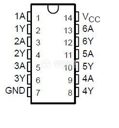 Интегрална схема К555ЛН1 / 1ЛБ04ШМ / 74LS04, TTL серия LS, HEX INVERTER, DIP14 - 2