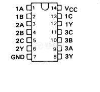 Интегрална схема 74LS10, TTL серия LS, TRIPLE 3-INPUT POSITIVE-NAND GATES, DIP14 - 2