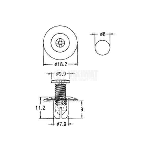 Автомобилен крепеж, ф8х9mm, полиамид, PR-1 - 2