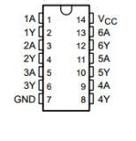 Интегрална схема 74LS14, TTL серия LS, HEX SCHMITT-TRIGGER INVERTERS, DIP14 - 2