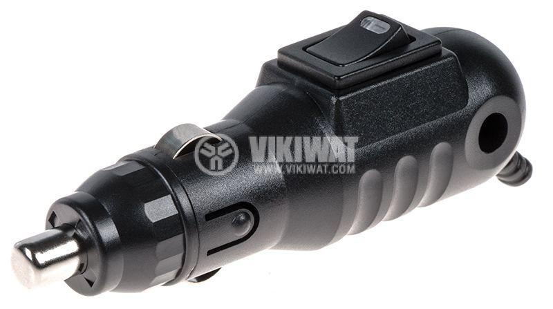 Щепсел за запалка на кола, 12VDC, с ключ и LED индикатор - 1
