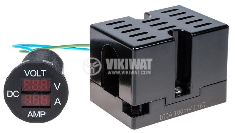 Цифров волт-амперметър 7~33V/0~100A, DC - 1