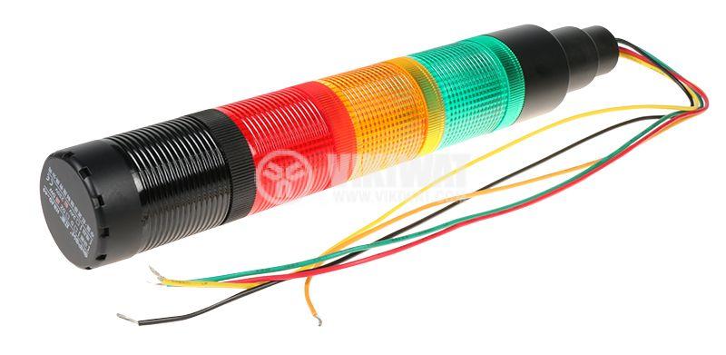 Сигнална колона 230V червен/жълт/зелен цвят бузер - 3