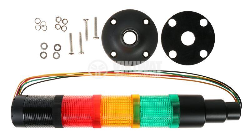 Сигнална колона 24V червен/жълт/зелен цвят бузер - 2