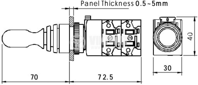 Джойстик 3A/220VAC 0.6A/220VDC 4PST 4xNO  - 4