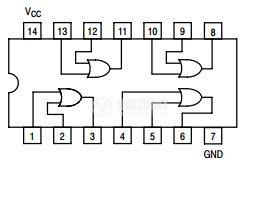 Интегрална схема 74LS32, TTL серия LS, Quad 2-Input OR Gate, DIP14 - 2
