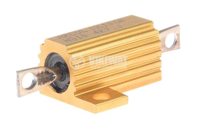 Резистор HS10-4K7J 4.7kOhm 10W ±5% жичен с радиатор - 1