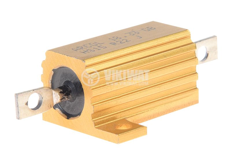 Резистор HS15-0R22J 220mOhm 15W ±5% жичен с радиатор - 1