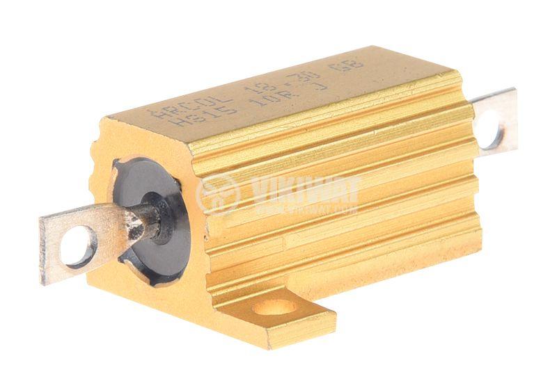Резистор HS15-10RJ 10Ohm 15W ±5% жичен с радиатор - 1
