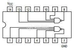 Интегрална схема 74LS40, TTL серия LS, DUAL 4-INPUT NAND BUFFER, DIP14 - 2