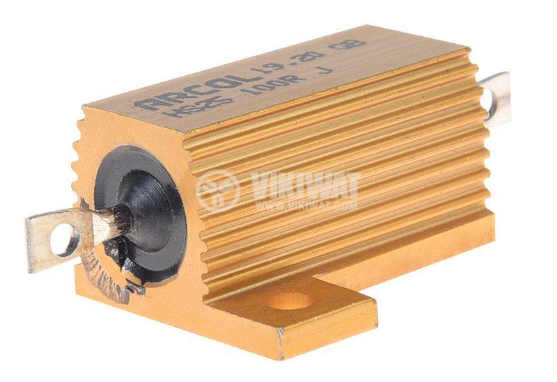 Резистор HS25-100RJ 100Ohm 25W ±5% жичен с радиатор - 1